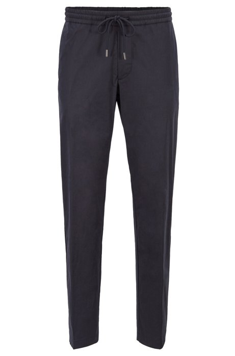 Paper-touch slim-fit pants with drawstring waist, Dark Blue