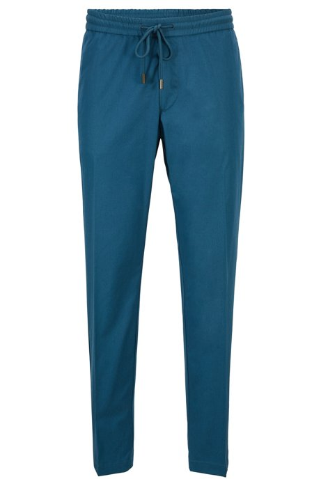Paper-touch slim-fit pants with drawstring waist, Blue