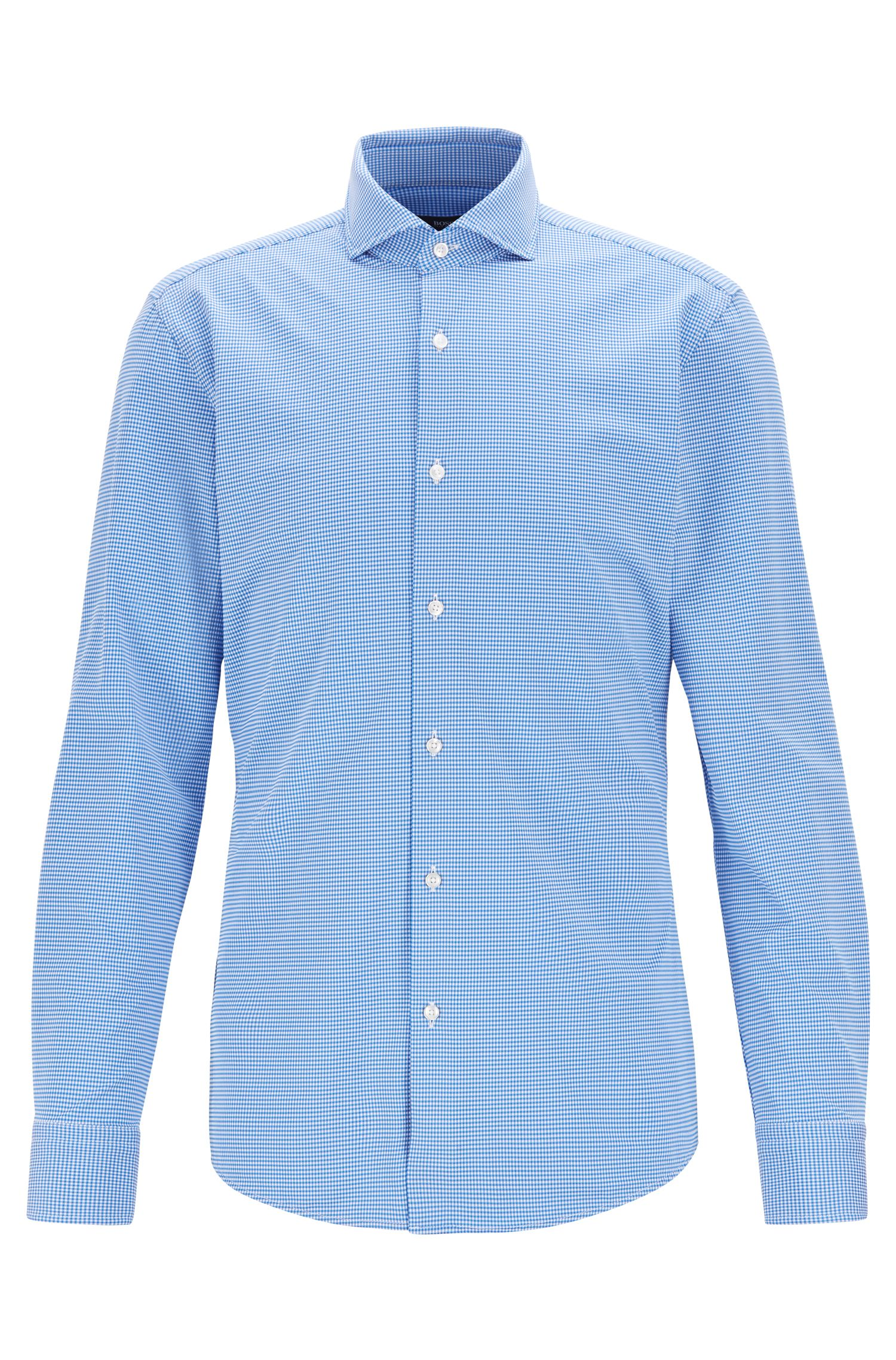 Travel Line slim-fit shirt in performance-stretch fabric, Blue