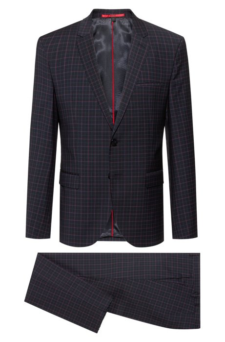 Extra-slim-fit checkered suit in a wool blend, Dark Blue