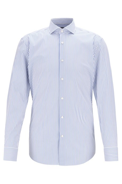 Slim-fit shirt in butcher-striped stretch poplin, Blue