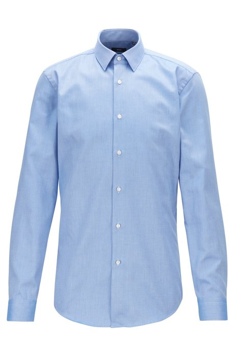 Travel Line slim-fit shirt in micro-structured cotton, Blue