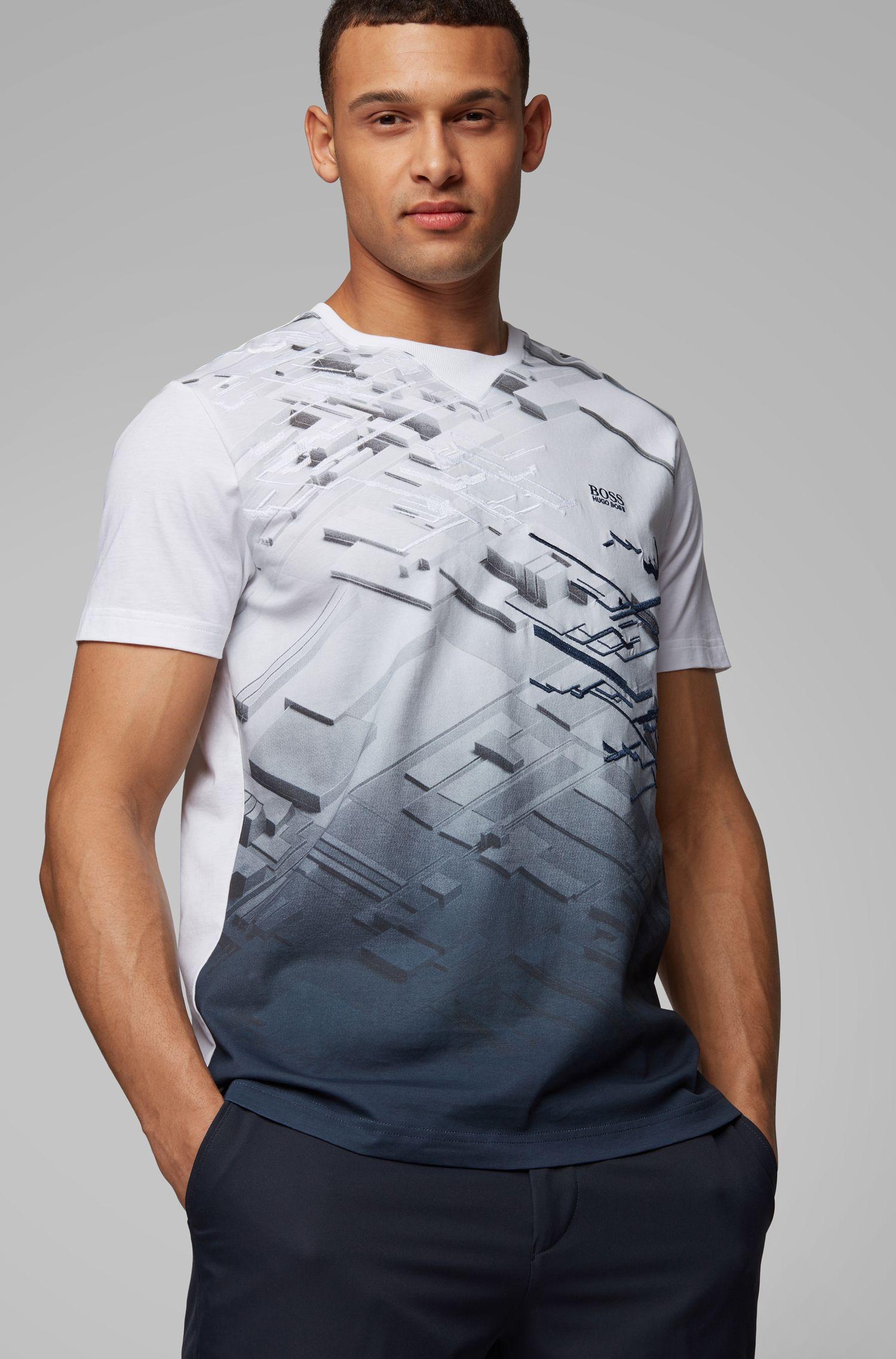 Cotton T-shirt with degradé artwork, White
