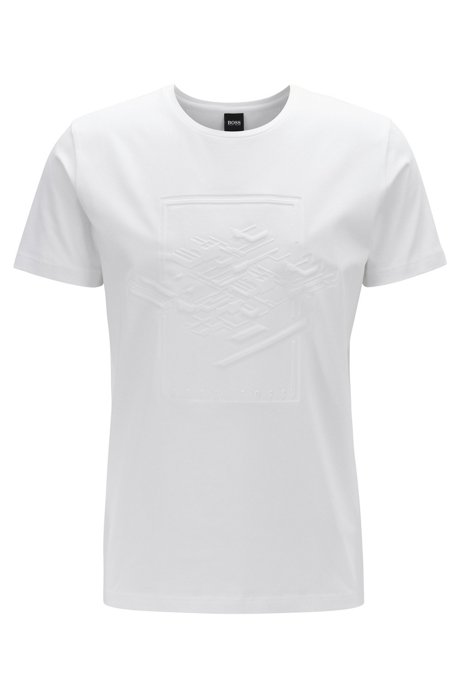 Stretch-cotton T-shirt with embossed artwork, White