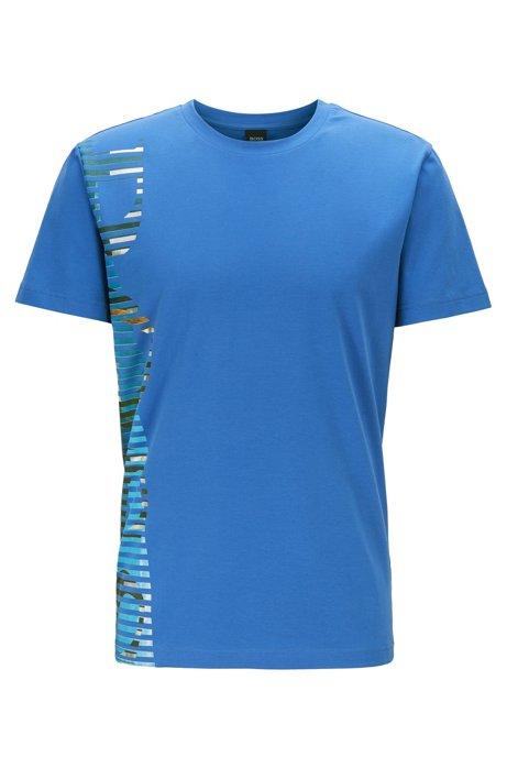 Stretch-cotton T-shirt with statement logo artwork, Blue
