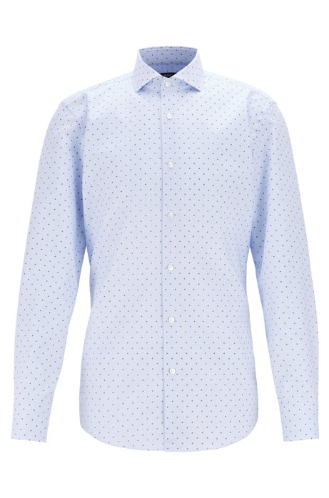 Slim-fit shirt in micro-printed cotton with Fresh Active finish, Light Blue