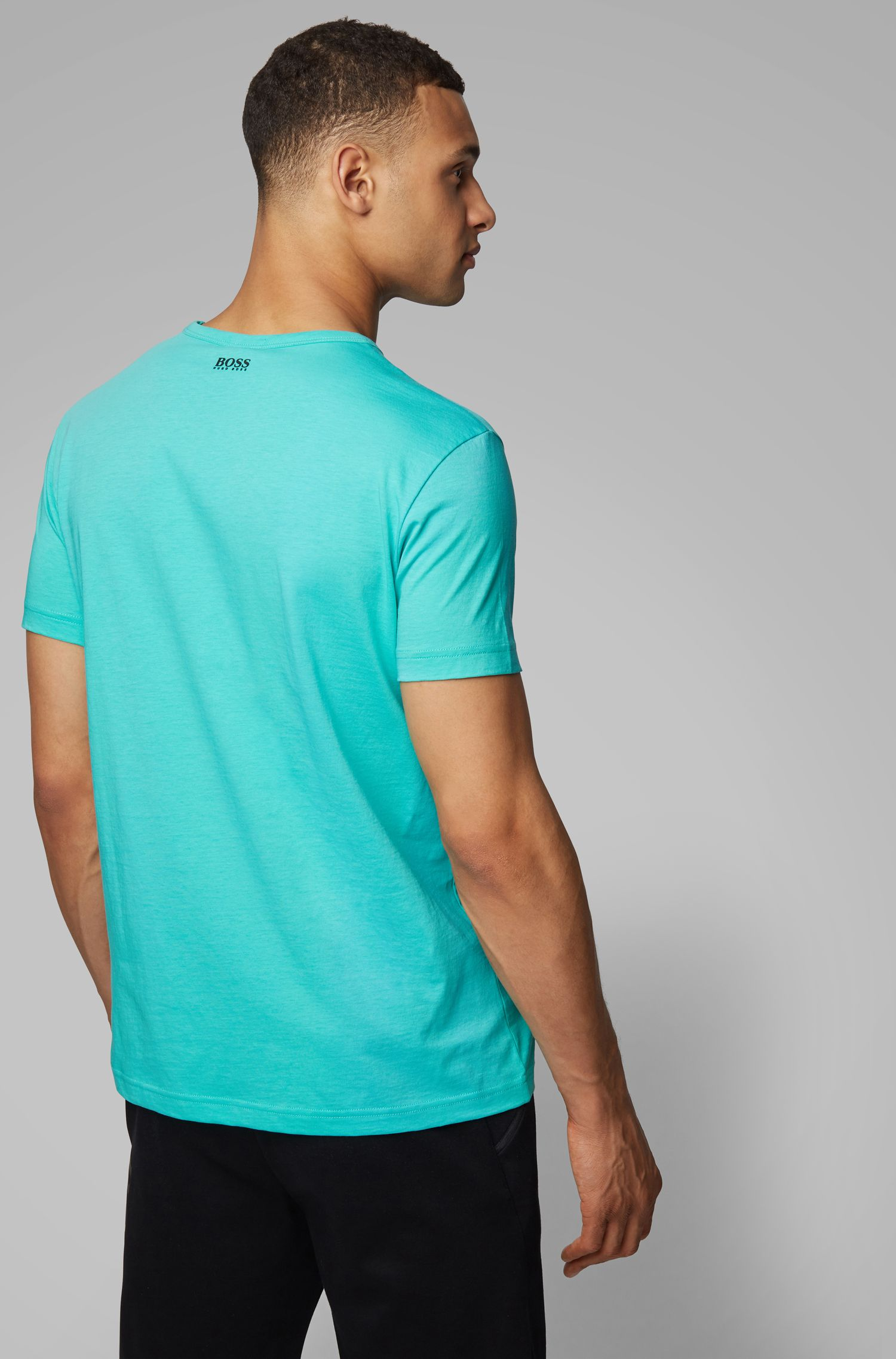 Regular-fit T-shirt in cotton with deconstructed logo artwork, Light Green