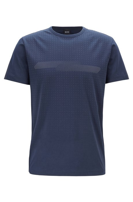 Stretch-cotton T-shirt with degradé dot print, Dark Blue