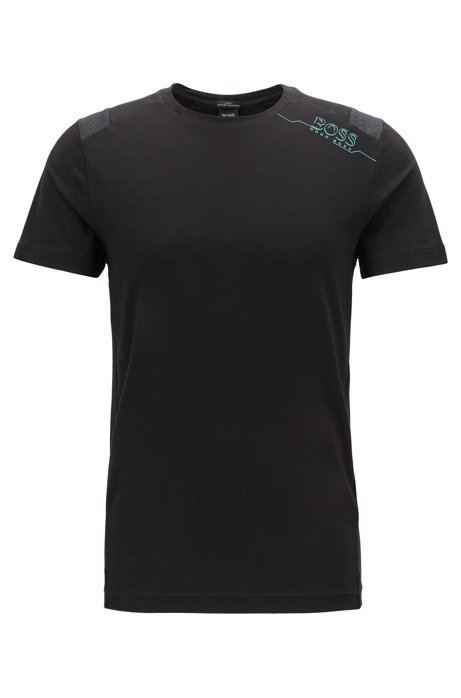Slim-fit T-shirt with S.Café® and perforated panels, Black