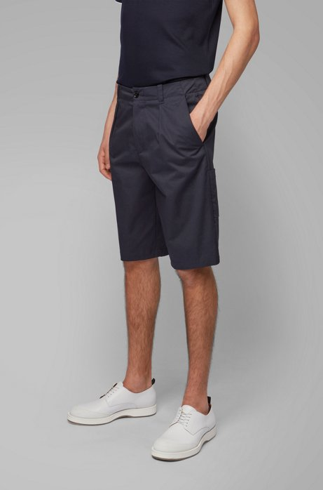 Relaxed-fit shorts in high-twisted stretch-cotton gabardine, Dark Blue