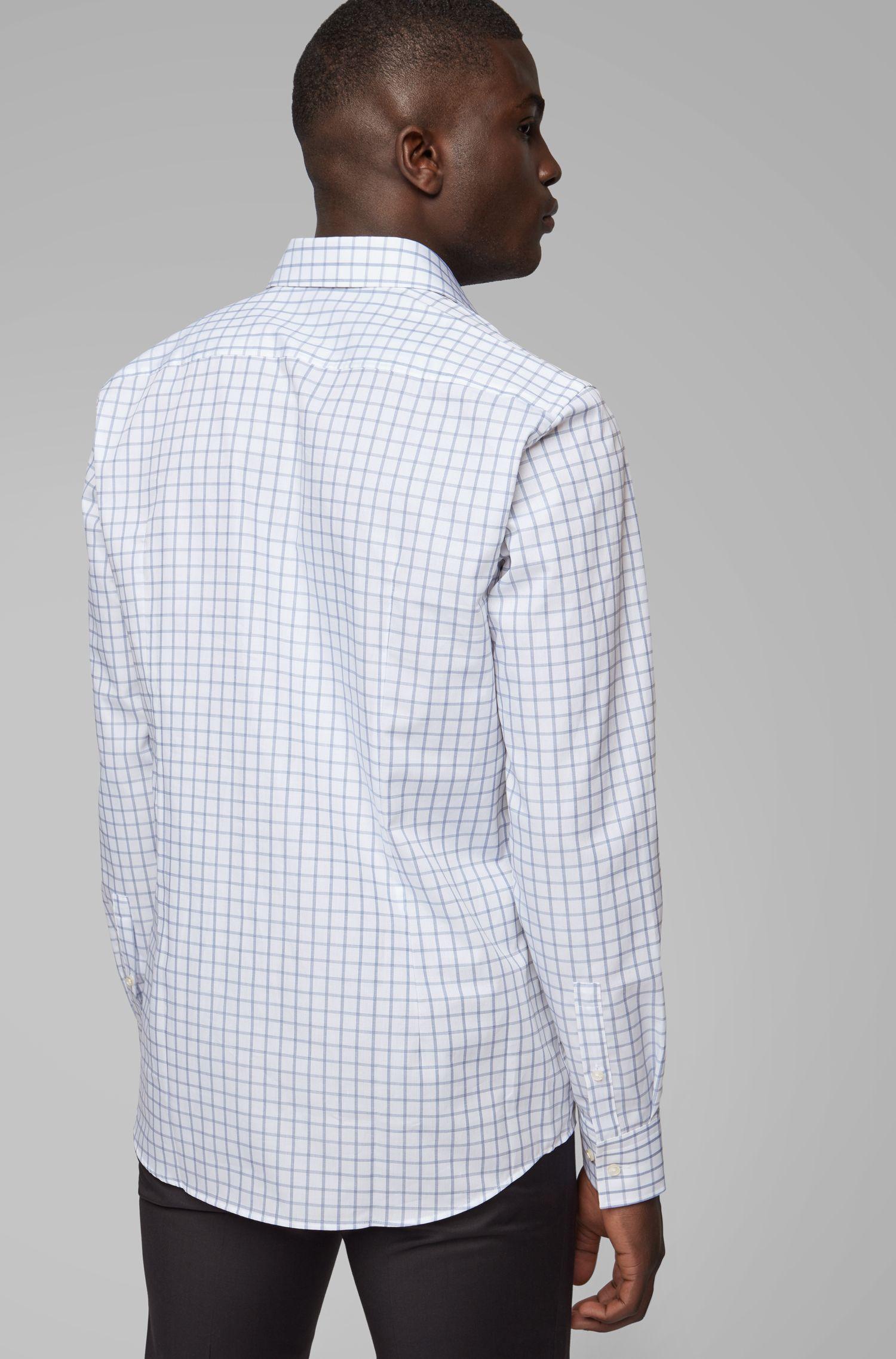 Slim-fit shirt in plain-check cotton piqué, Blue