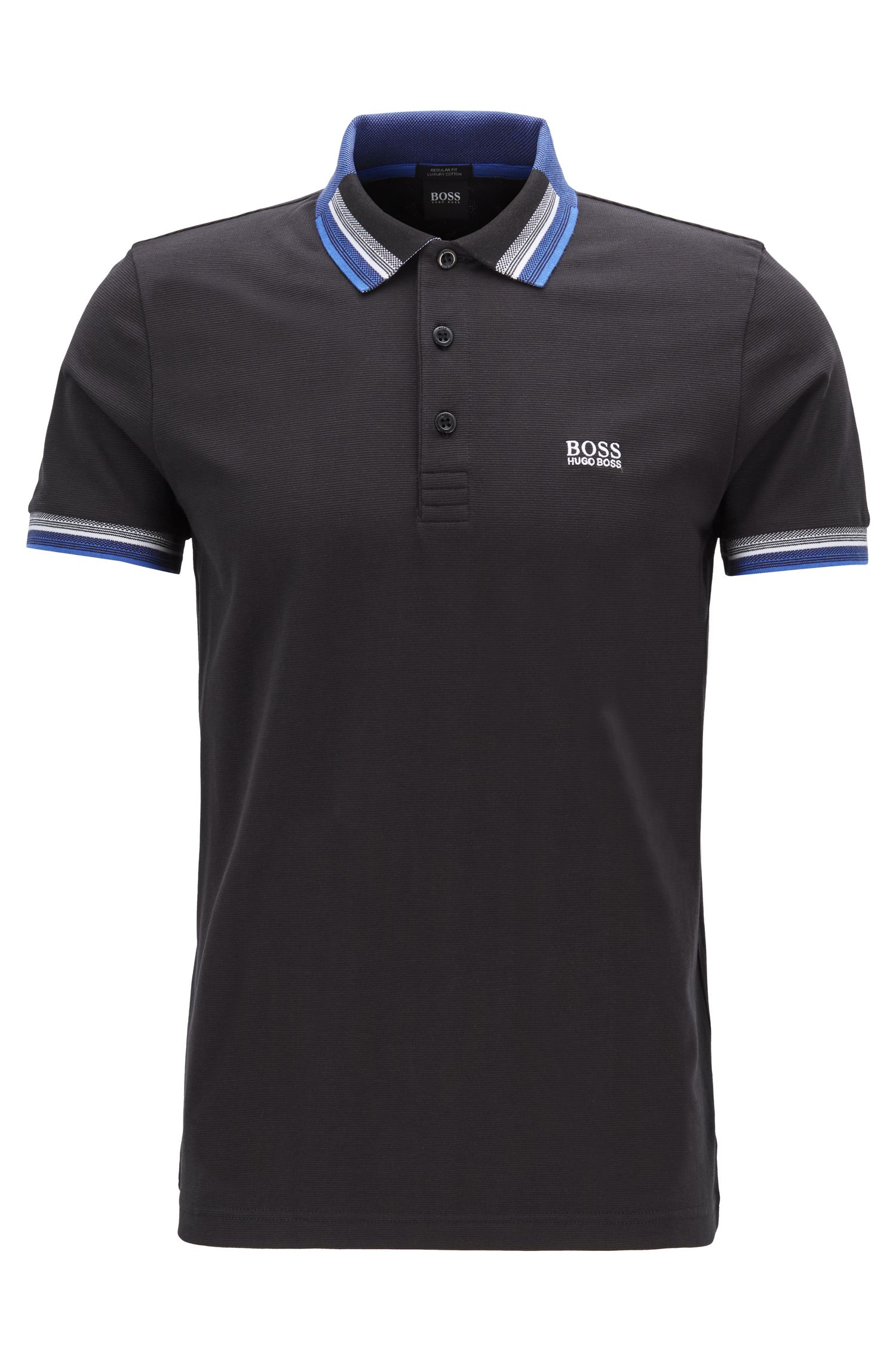 Piqué cotton polo shirt with multicolored collar and cuffs, Black