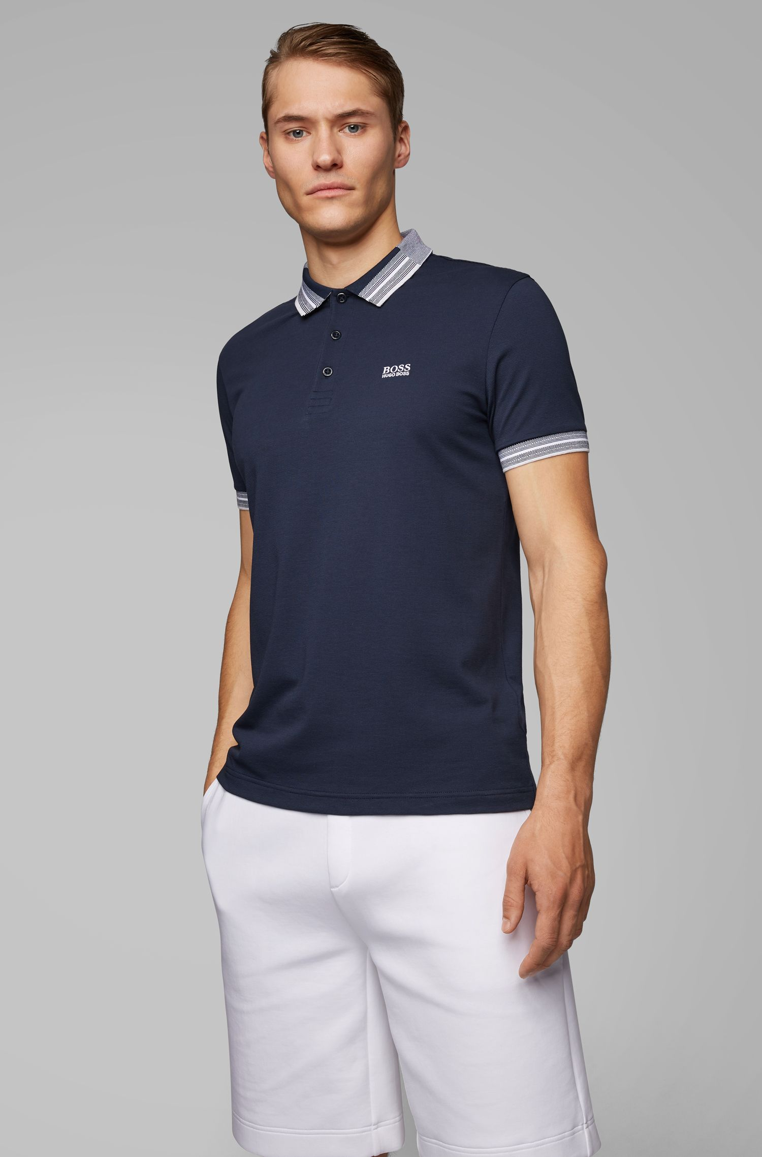 Piqué cotton polo shirt with multicolored collar and cuffs, Dark Blue
