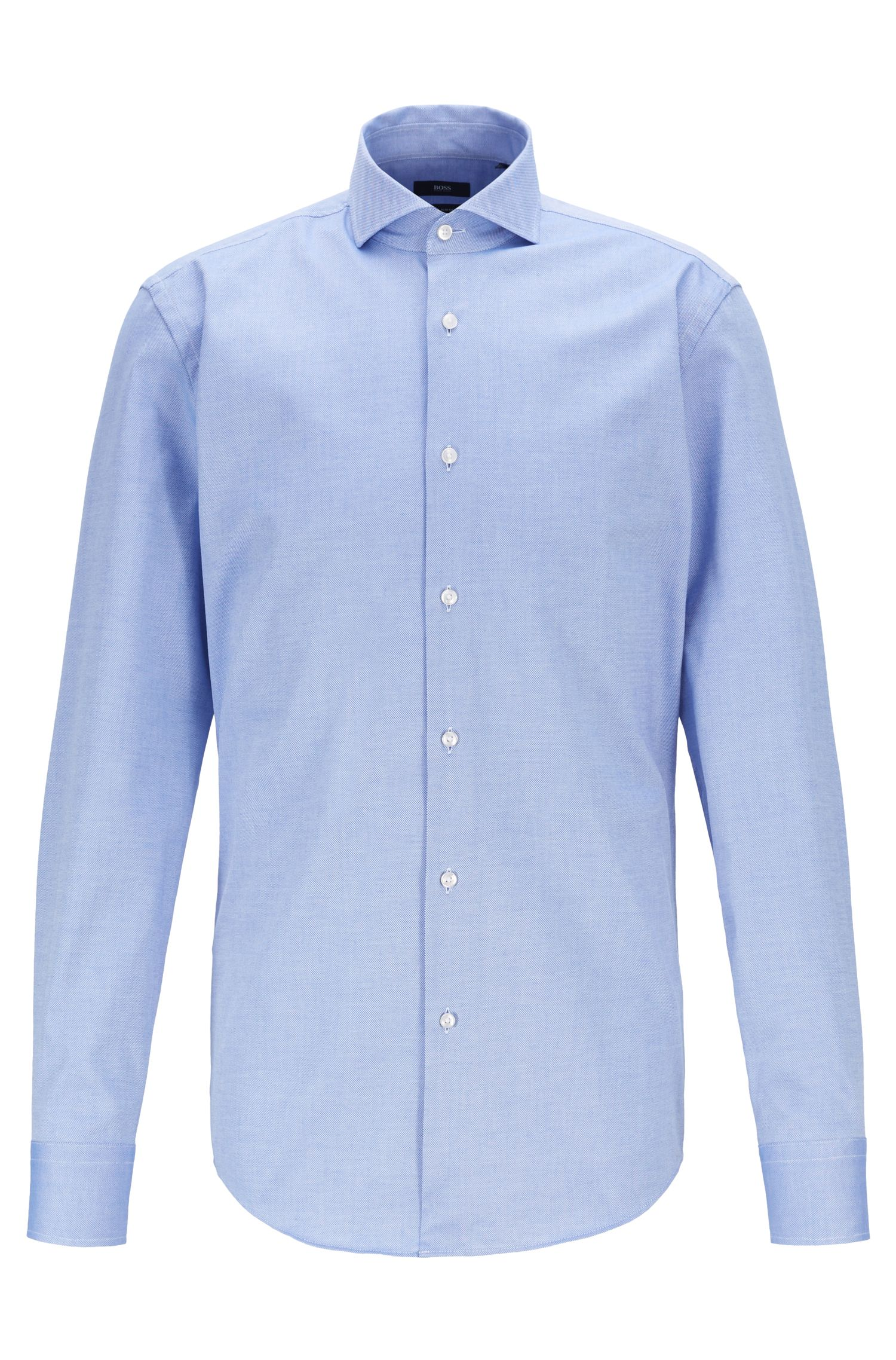 Travel Line slim-fit shirt in Royal Oxford stretch cotton, Blue