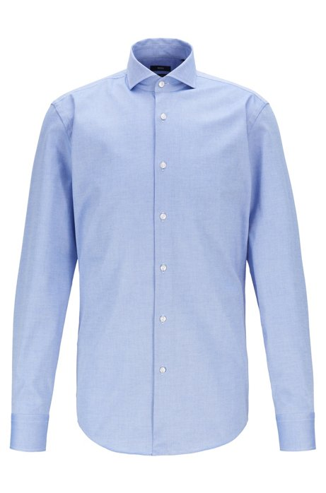 Slim-fit shirt in Royal Oxford stretch cotton, Blue