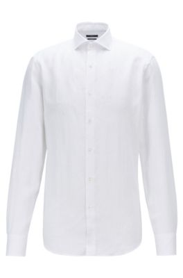 Slim-fit shirt in Italian linen, White