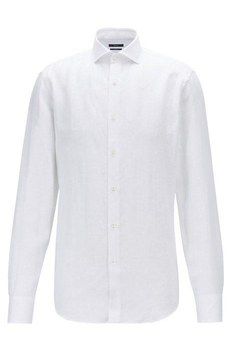 Slim-fit shirt in Italian linen, White