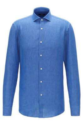 Slim-fit shirt in Italian linen, Blue