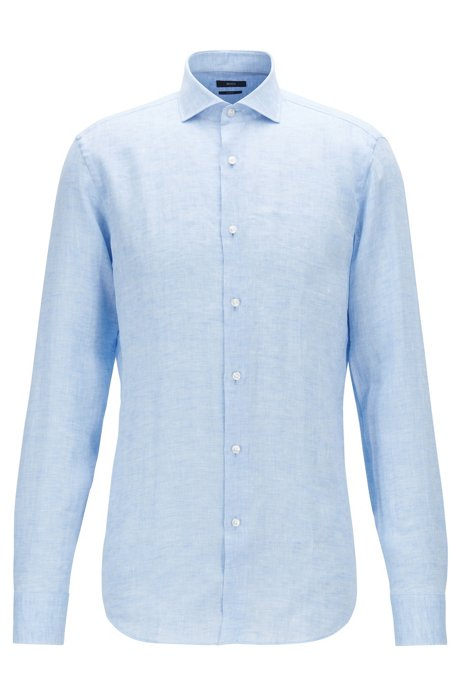 Slim-fit shirt in Italian linen, Light Blue