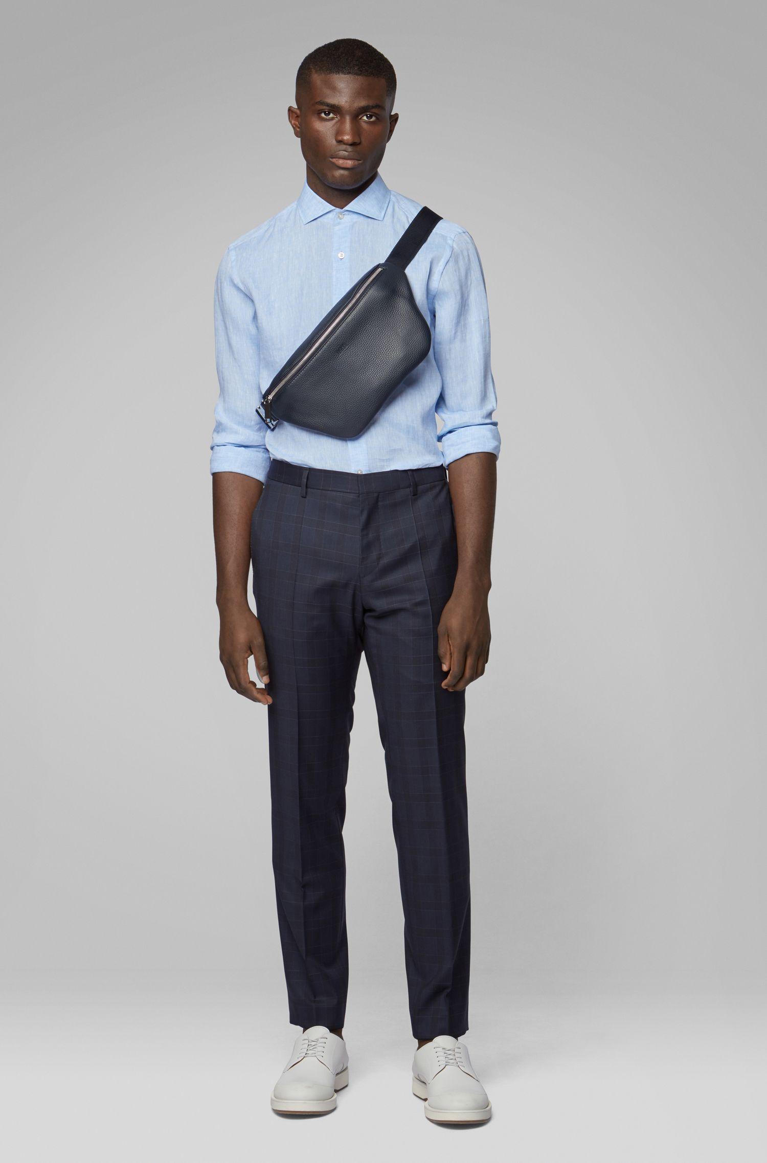 Slim-fit shirt in Italian linen, Light Blue