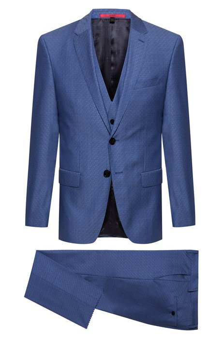 Slim-fit three-piece suit in patterned tropical wool, Blue