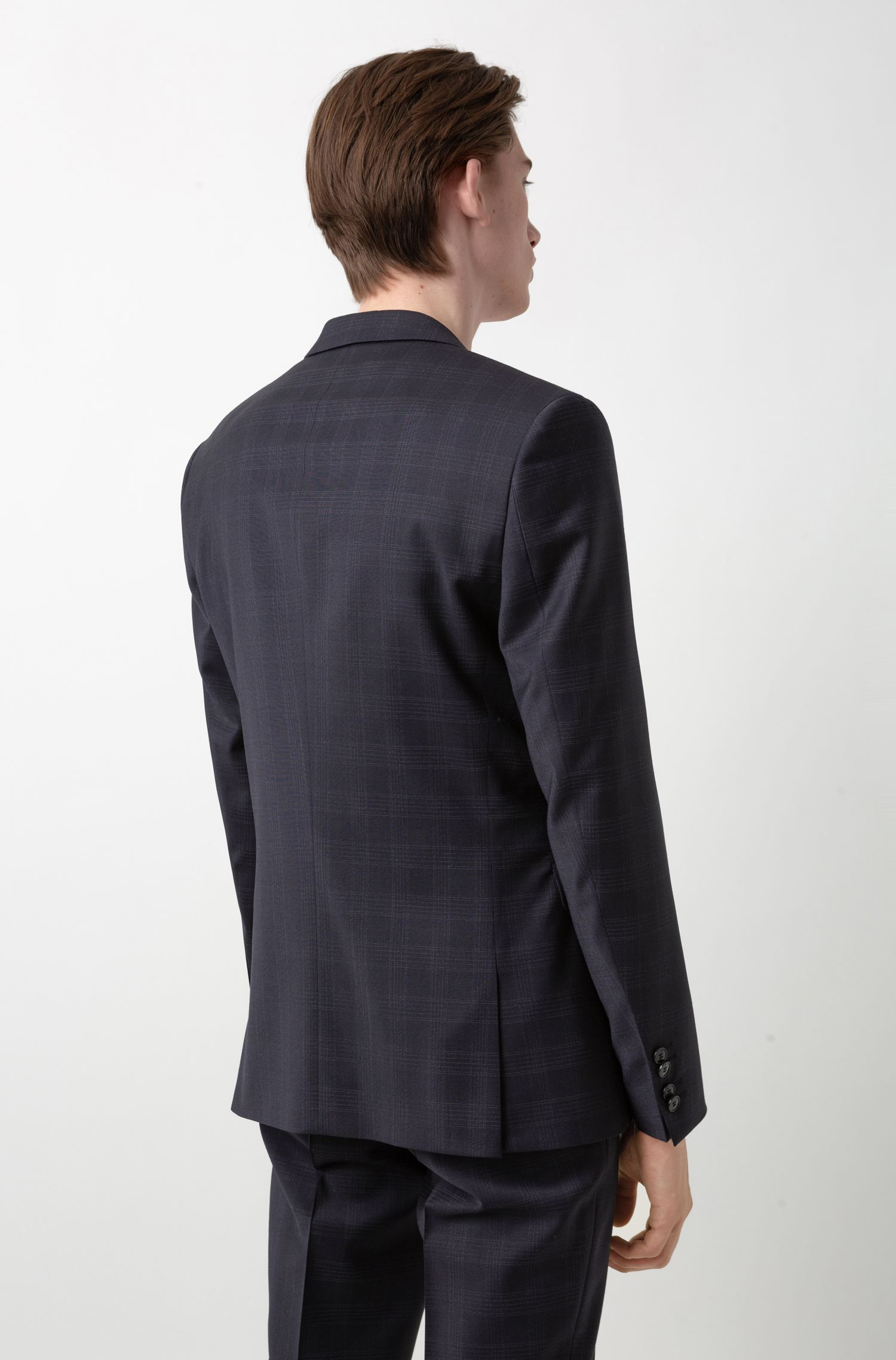 Extra-slim-fit checkered suit in stretch virgin wool, Dark Blue