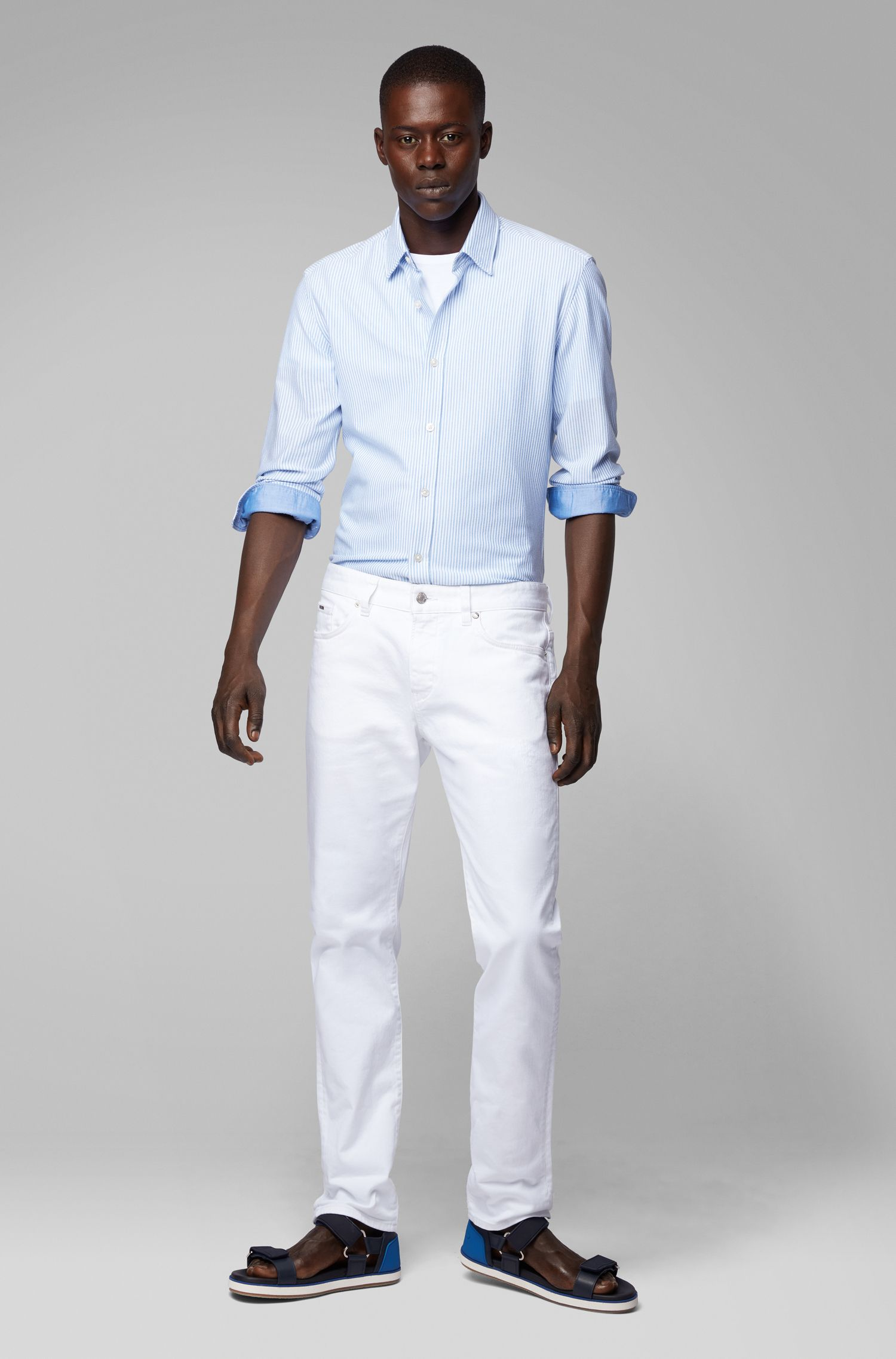 Striped slim-fit shirt in knitted cotton piqué, Light Blue