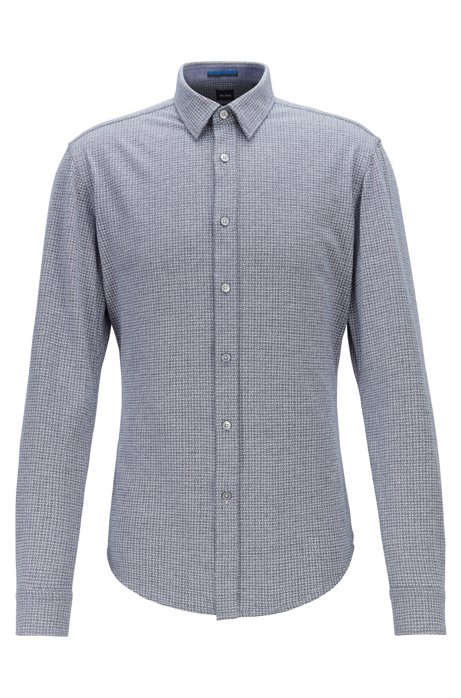 Slim-fit shirt in printed single-jersey cotton, Dark Blue