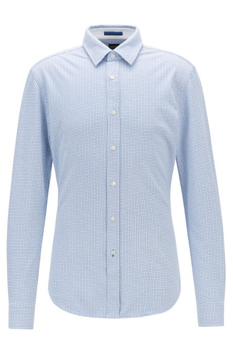 Slim-fit shirt in printed single-jersey cotton, Blue