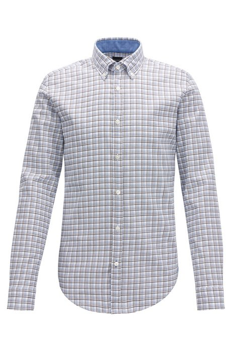 Slim-fit shirt in check-print dobby cotton, Blue