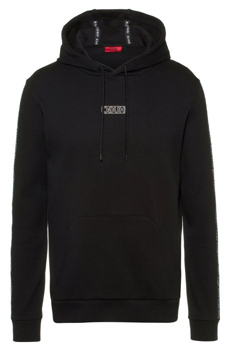 Hooded sweatshirt in interlock cotton with logo-tape sleeves, Black