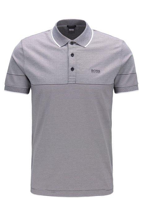 Regular-fit polo shirt with jacquard mini stripe, Black