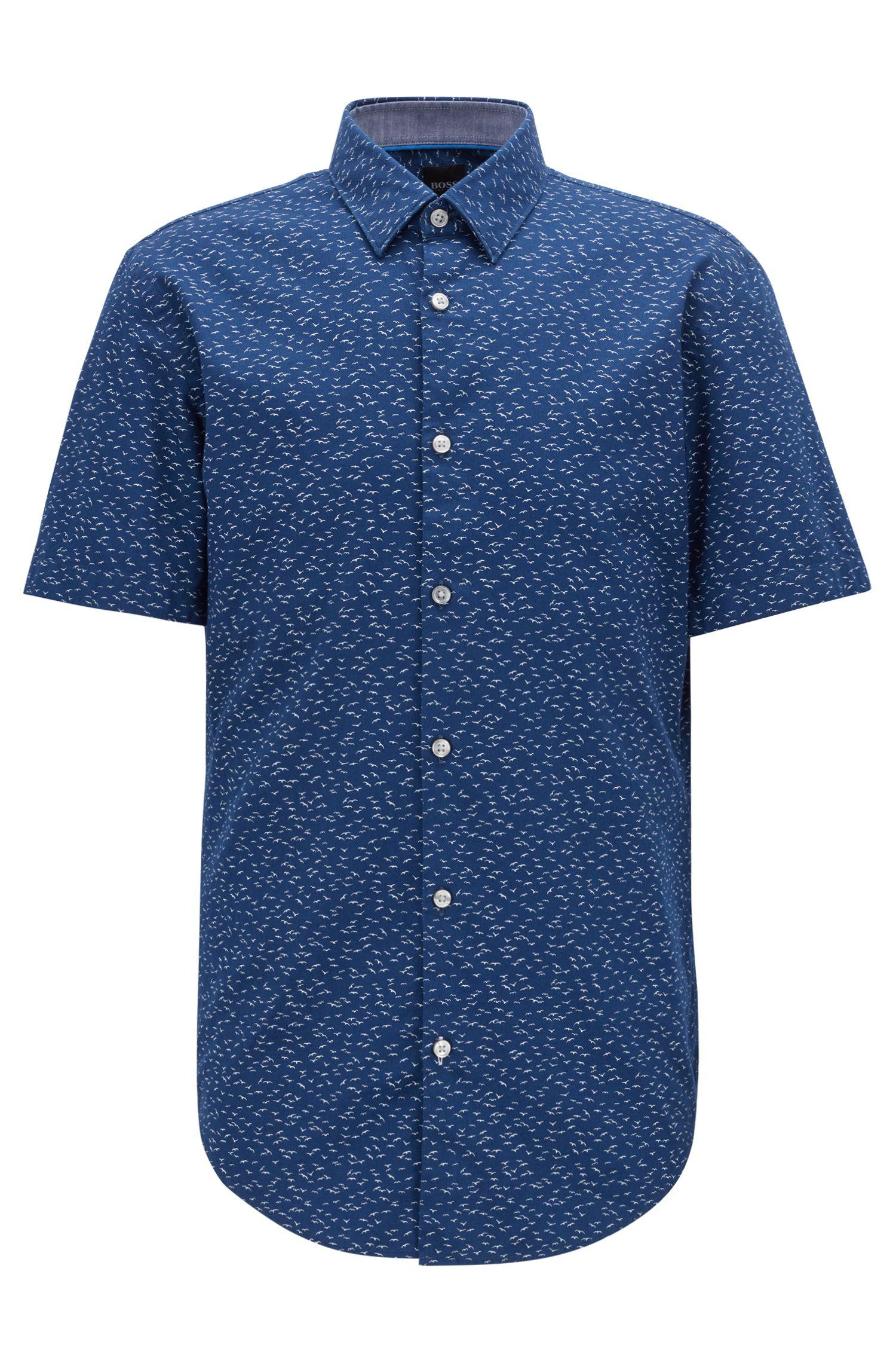 Slim-fit short-sleeved shirt with exclusive bird print, Dark Blue