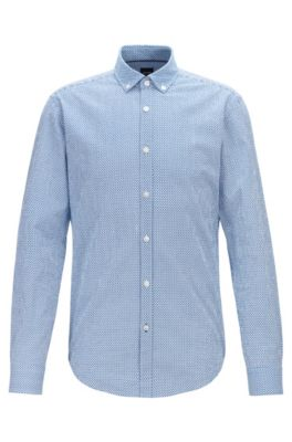 Slim-fit shirt in graphic-print cotton seersucker, Blue