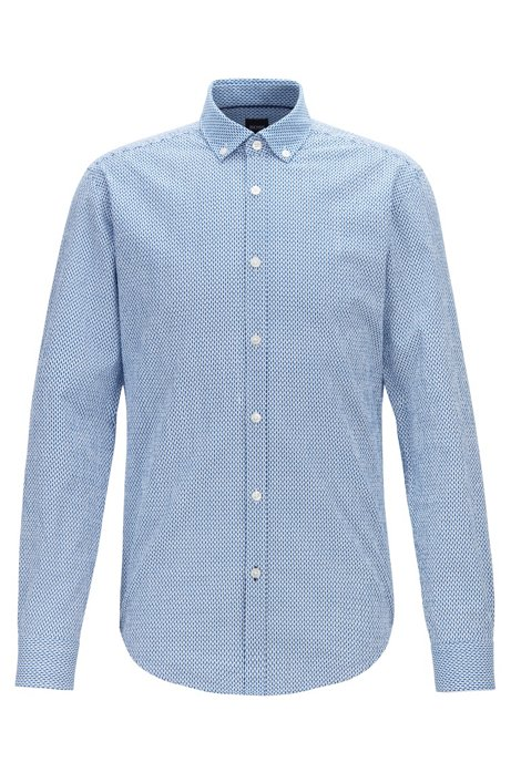 Slim-fit shirt in graphic-print cotton seersucker, Blue