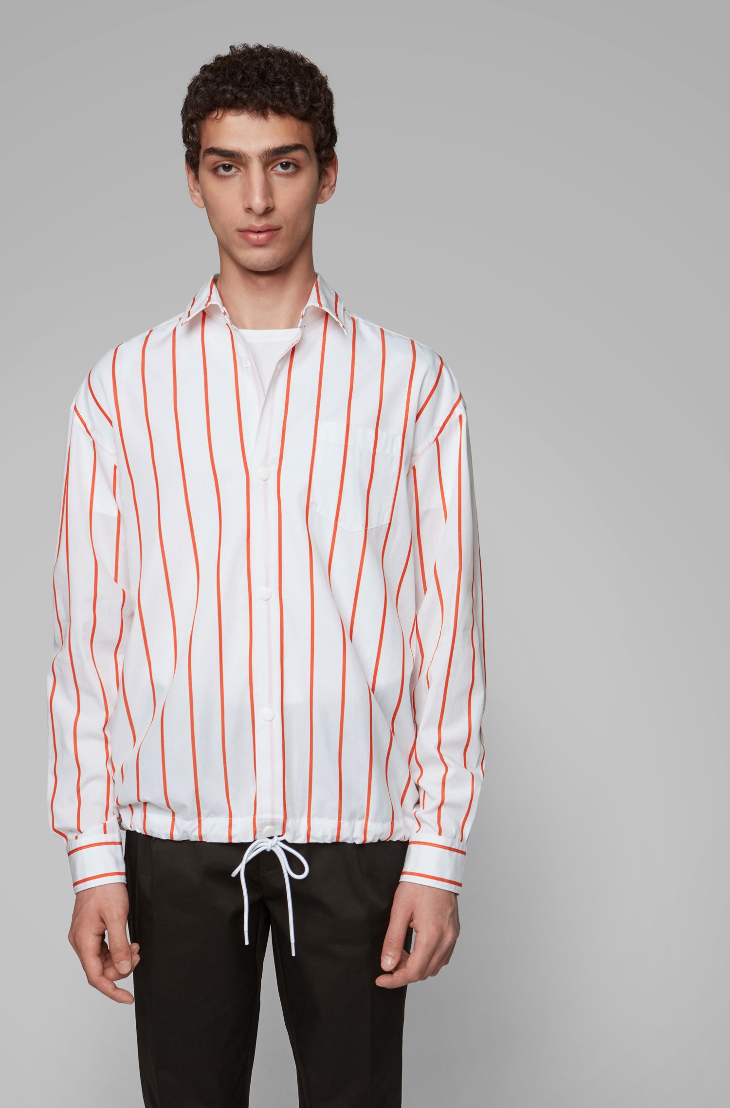 Relaxed-fit overshirt in striped cotton with drawstring hem, Orange