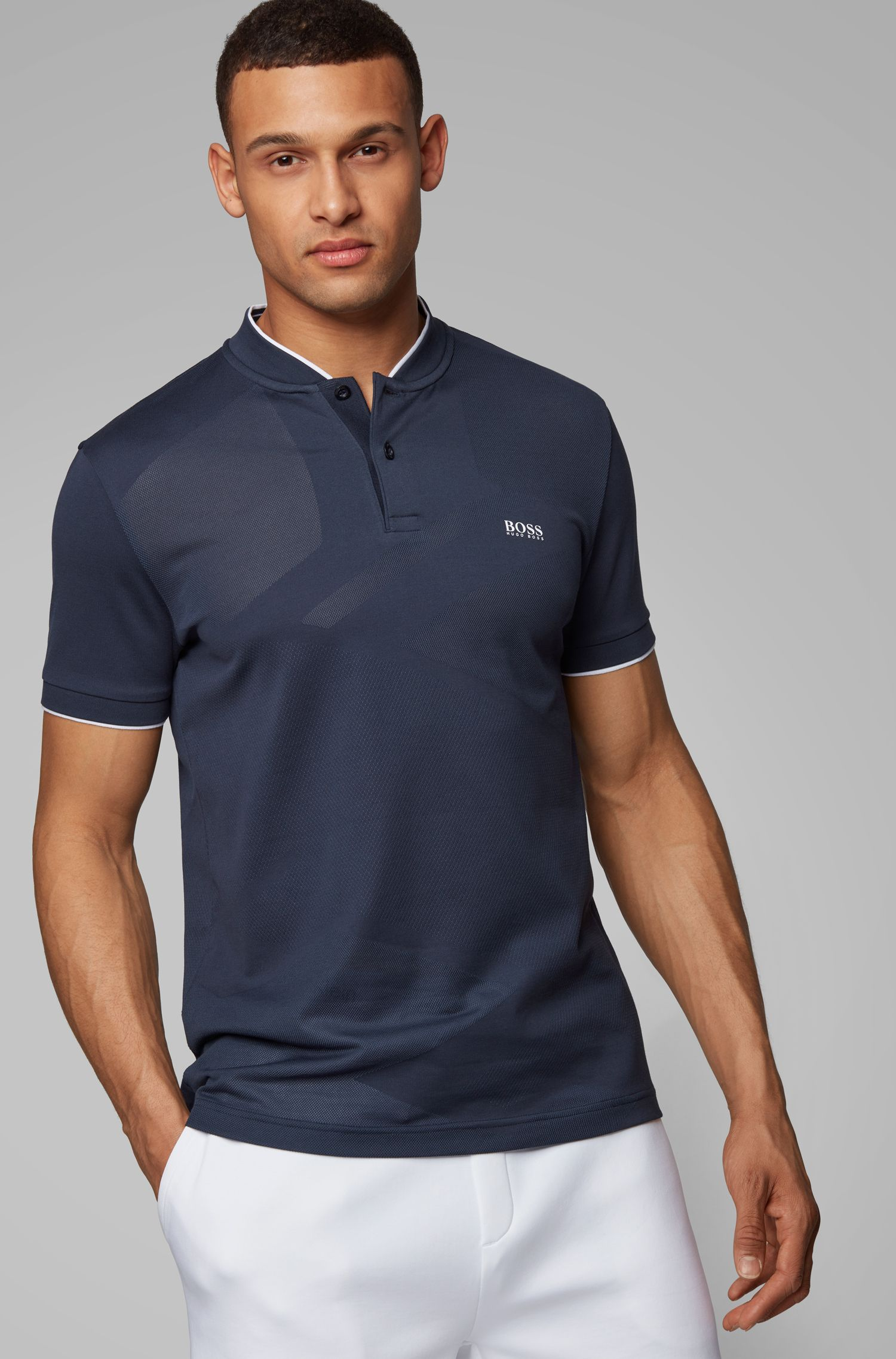 Slim-fit polo shirt in micro jacquard with S.Café®, Dark Blue
