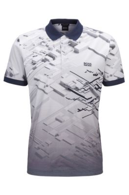 Regular-fit polo shirt in cotton with degradé print , Dark Blue