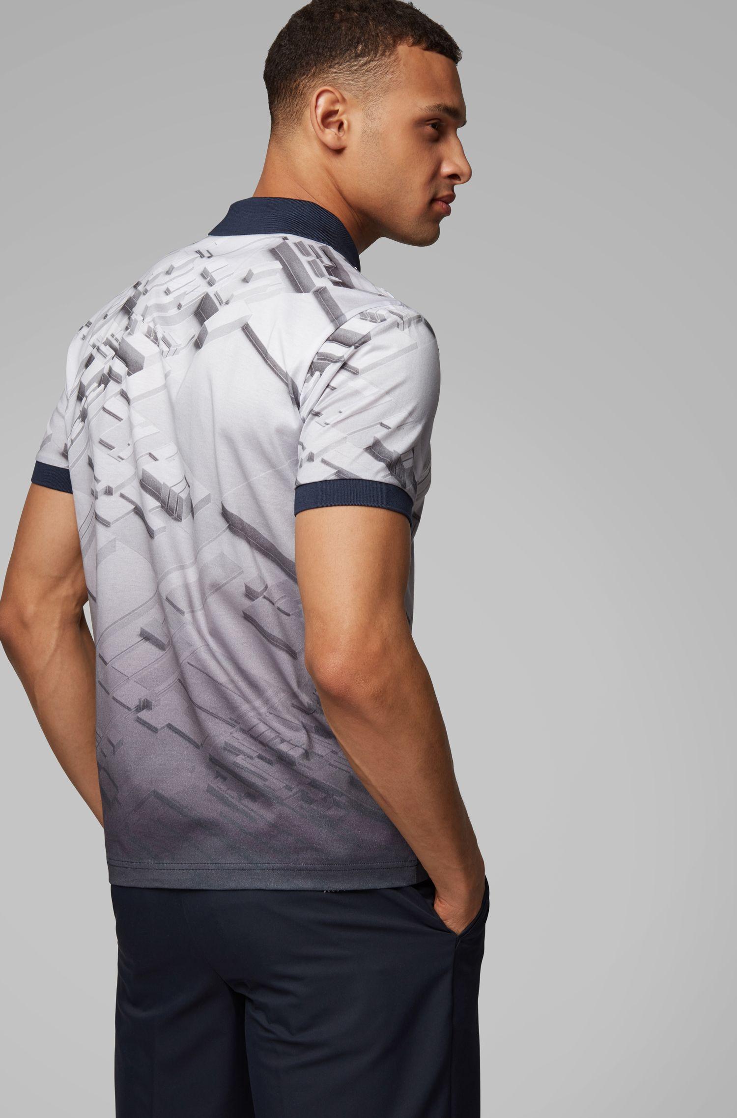 Regular-fit polo shirt in cotton with degradé print , Dark Blue