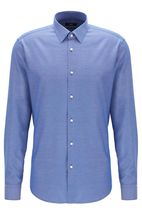 Regular-fit shirt in micro-structured cotton with topstitched collar, Blue