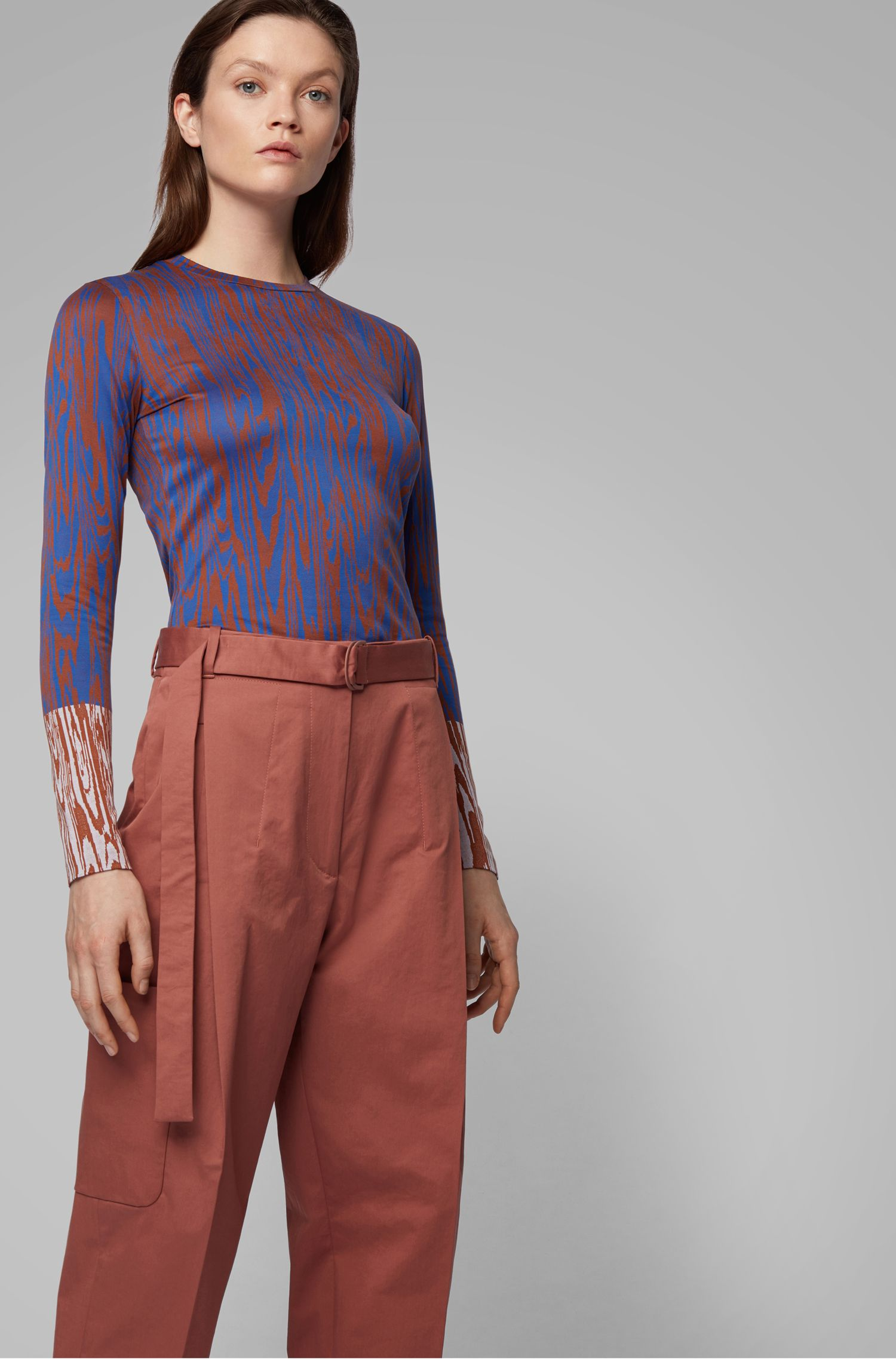 Slim-fit jersey top with all-over pattern, Patterned