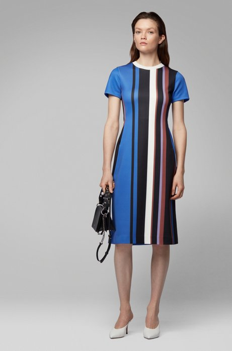 Short-sleeved dress in stretch jersey with printed stripes, Patterned