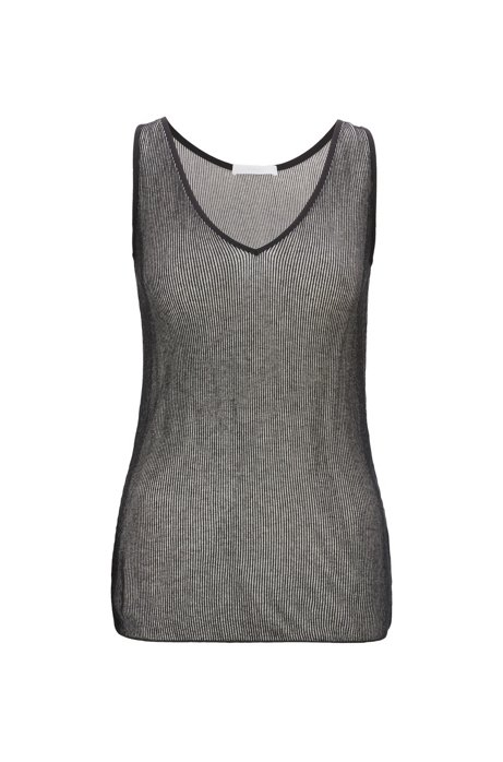 Slim-fit jersey top with two-tone ribbing, Patterned