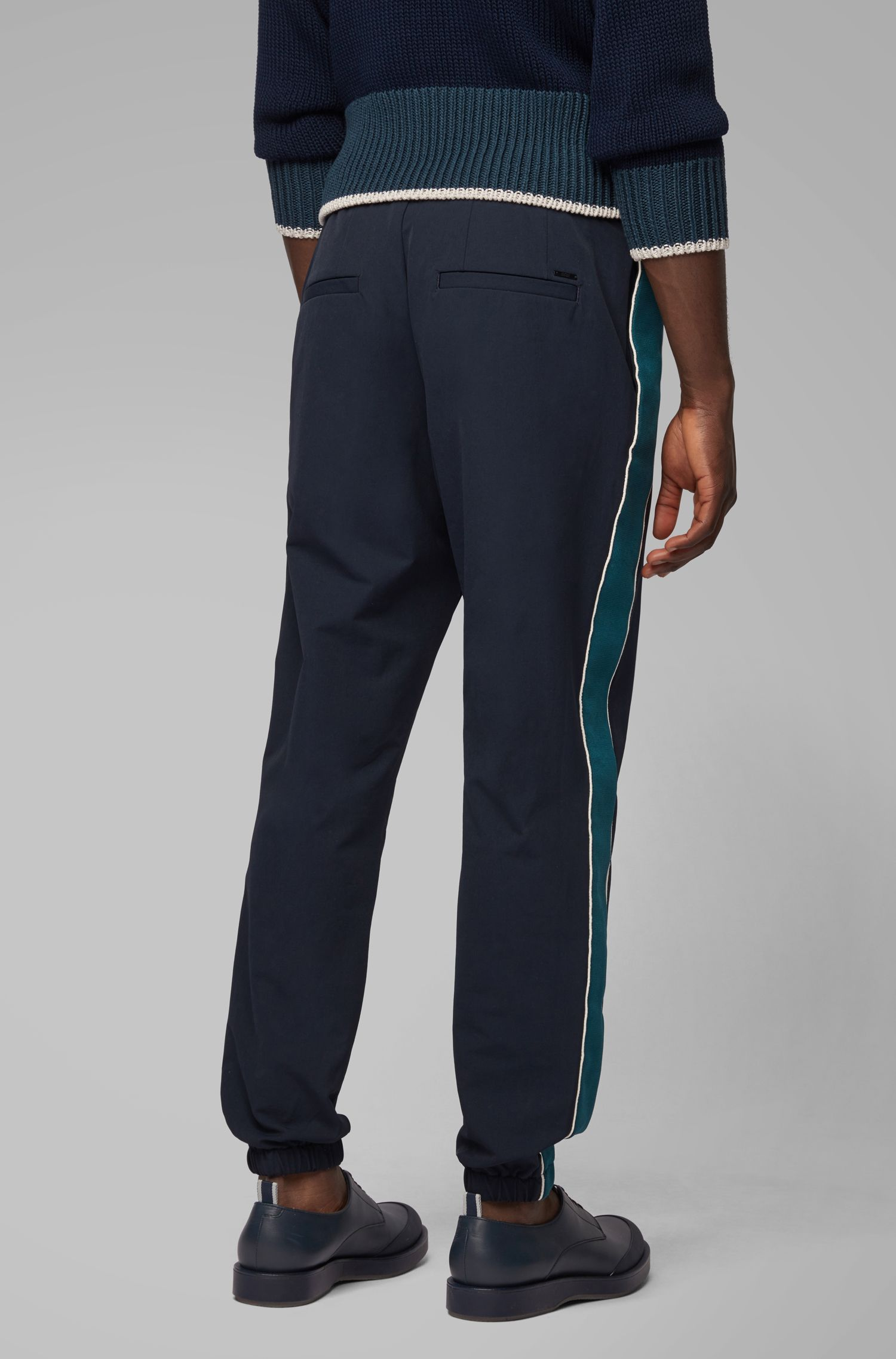 Relaxed-fit jogging bottoms in bi-stretch fabric, Dark Blue