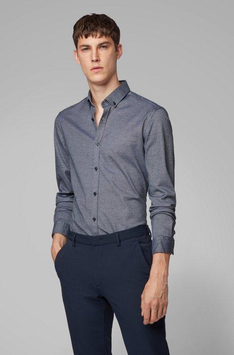 Slim-fit shirt in structured cotton jersey, Dark Blue