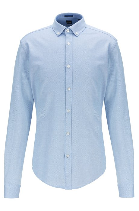 Slim-fit shirt in structured cotton jersey, Blue