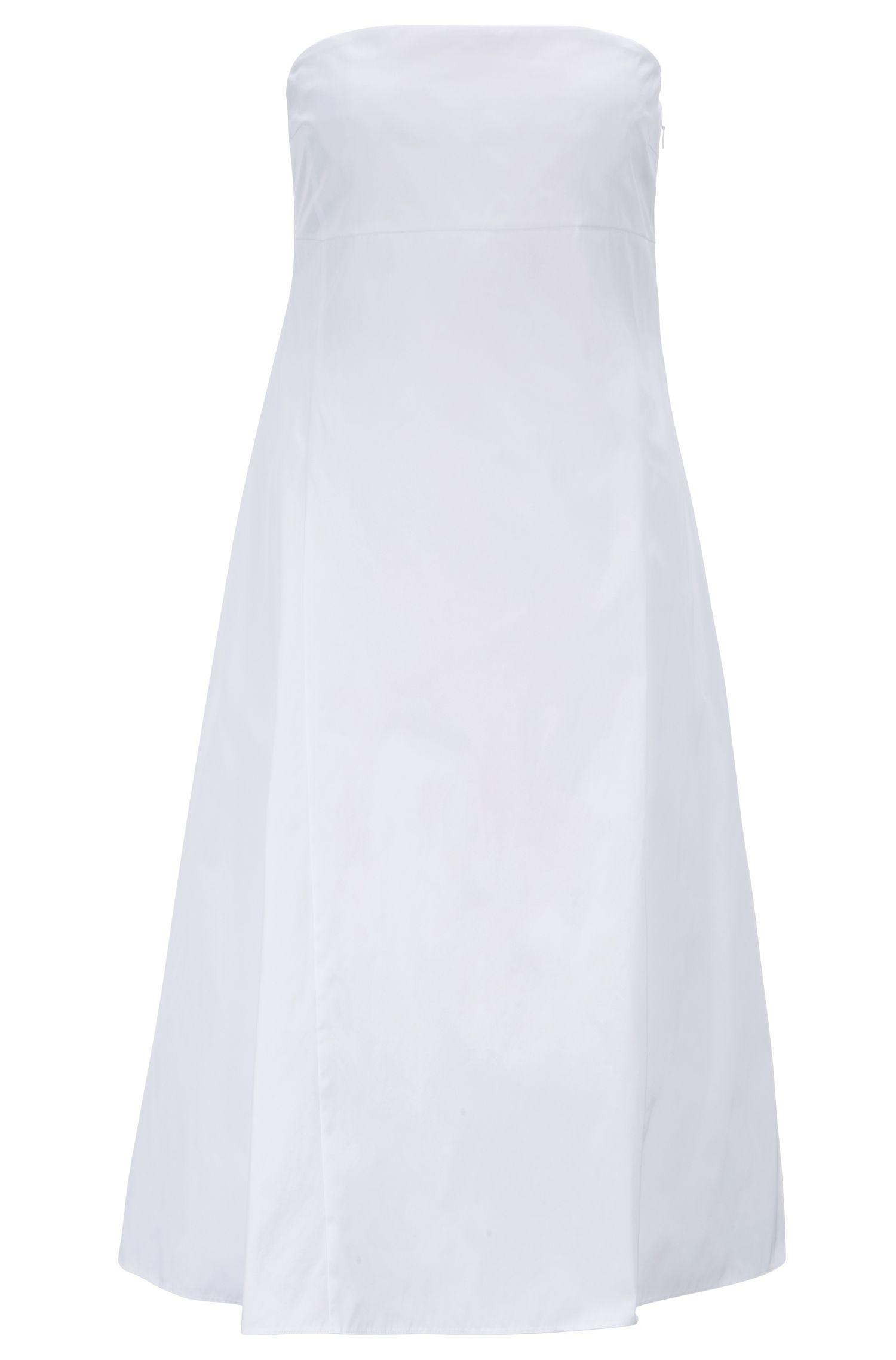 Strappy maxi dress in Italian double-woven fabric, White