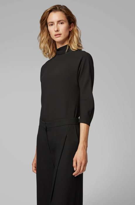 Bow-detail blouse in Italian satinback crepe, Black