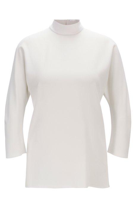 Bow-detail blouse in Italian satinback crepe, Natural