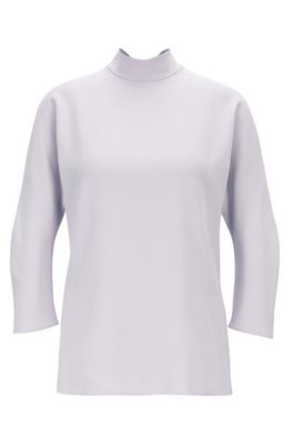 Bow-detail blouse in Italian satinback crepe, Light Purple